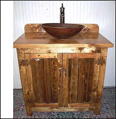 Photo Of Front View   Rustic Log Bathroom Vanity: Southwestern Rustic Bathroom  Vanity W/Copper Vessel Sink And Bronze Faucet