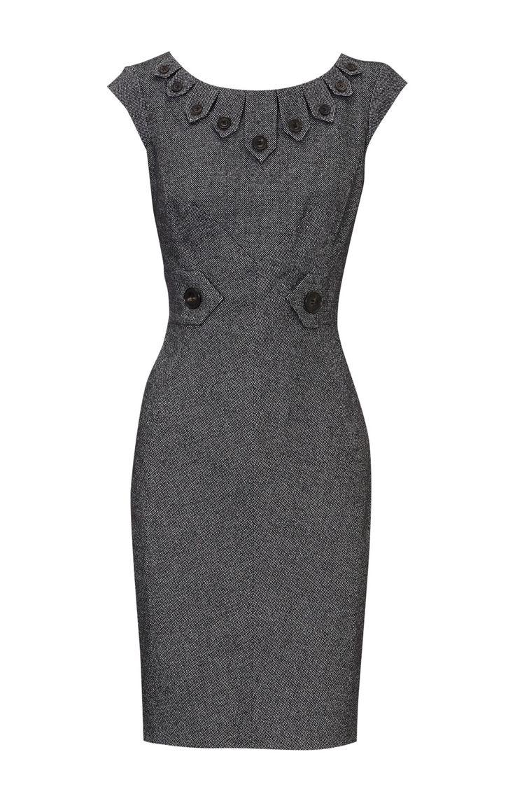 Christmas dress ideas for office party - Details About Karen Millen Dk235 Tweed Dress Black White