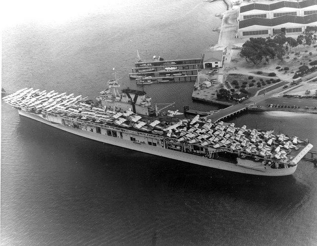May 8, 1942: The Battle of the Coral Sea comes to an end with Japanese Imperial Navy aircraft carrier aircraft attacking and sinking the United States Navy aircraft carrier USS Lexington. The battle marks the first time in the naval history that two enemy fleets fight without visual contact between warring ships. Featured: USS Yorktown