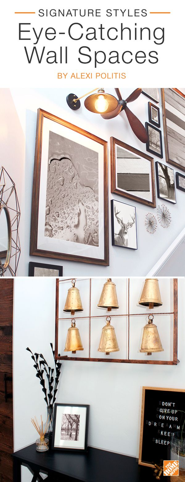 Style your wall space with standout accent pieces. Hang an ascending gallery of contemporary frames in your stairwell, add gold furnishings for an elegant touch or achieve a rustic feel with a farmhouse-inspired metal bell wall-hanging. We partnered with blogger Alex Politis to achieve this stylish space. Click to shop products from the collection.