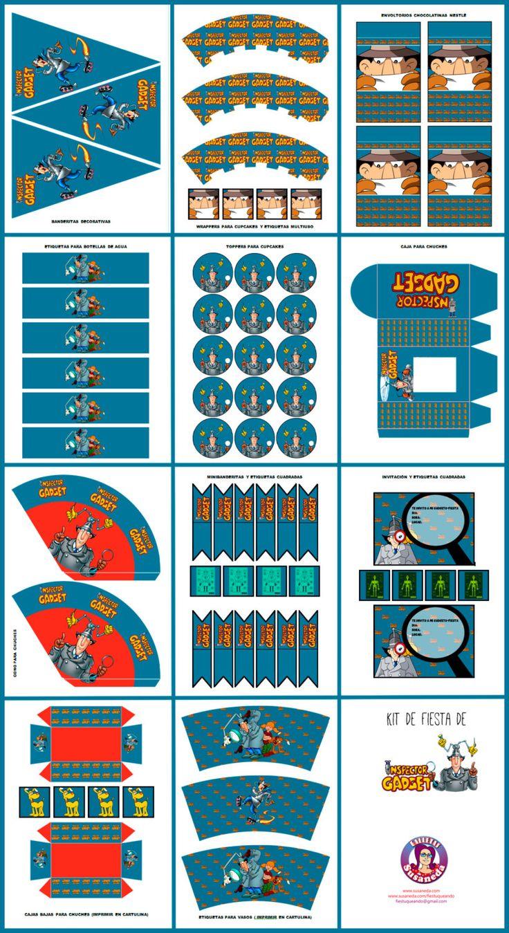 kit Imprimibles Inspector Gadget de ImprimiblesSusaneda en Etsy