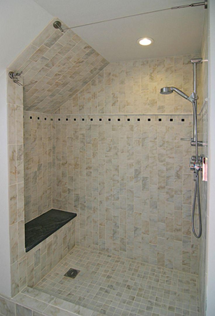 17 best ideas about attic shower on pinterest attic for Slanted ceiling bathroom ideas
