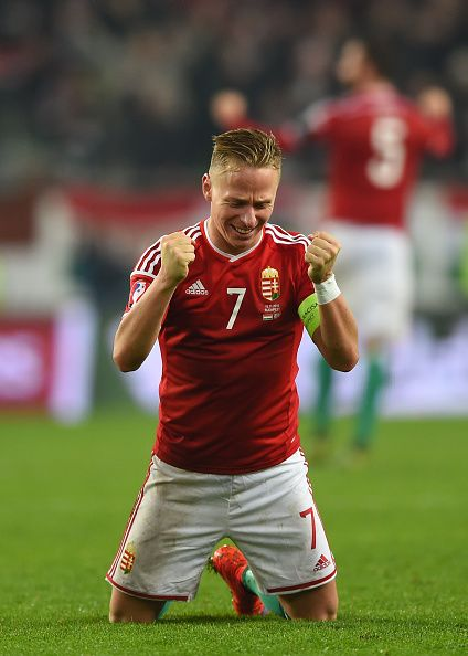 #EURO2016 Captain Balazs Dzsudzsak of Hungary celebrates his team's 21 victory and qualification as the final whistle blows during the UEFA EURO 2016 Qualifier...