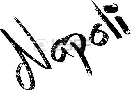 Naples text illustration on white background