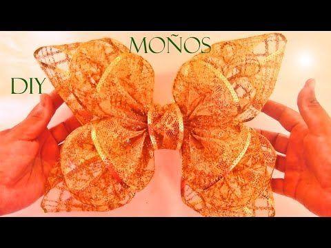 DIY Moños flores y lazos de Navidad en cintas - Ribbons and bows Christmas flowers - YouTube