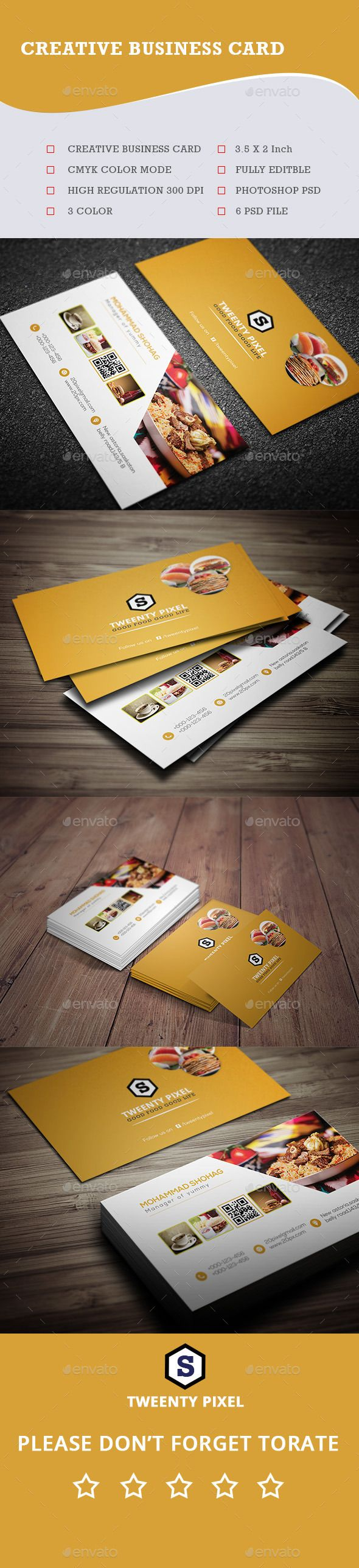 Restaurant Business Card Template PSD #design Download: http://graphicriver.net/item/restaurant-business-card-/14156224?ref=ksioks