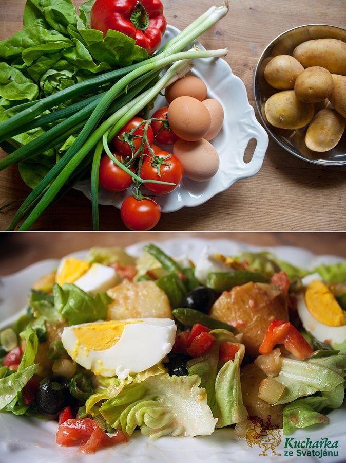 Očistíme a uvaříme 600 g menších nových brambor i se slupkou, uvaříme 4 vejce natvrdo. Do vroucí osolené vody vhodíme 300 g mražených fazolo...