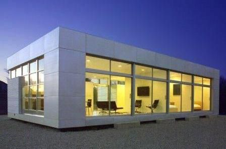 Rocio Romero designs, manufactures and sells several models of minimalist, modern prefabricated home kits. Models range in size from 1453 sq ft for the LVL home to 625 sq ft studio.
