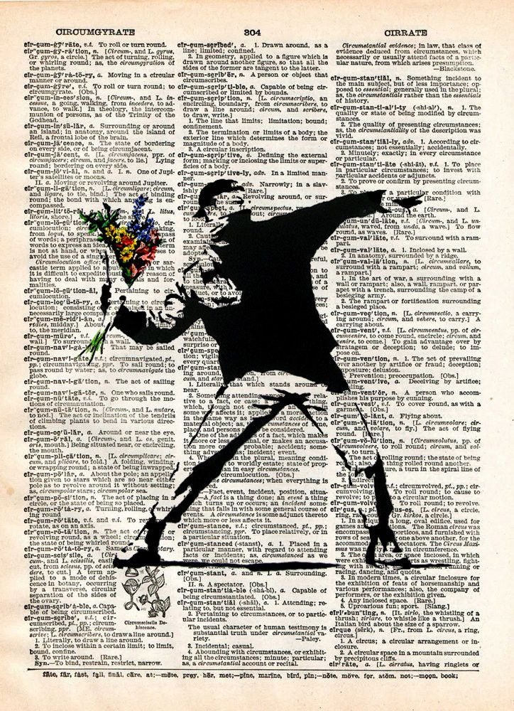 Banksy Flower Bomber, street art, vintage dictionary page book art print