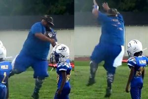 This pee-wee football coach has all the right moves on the field