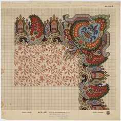 Drawing pattern after a carpet design from 1850-1860 by M.D. Renssen, 1905 / 1909. Deventer Musea, CC BY-SA