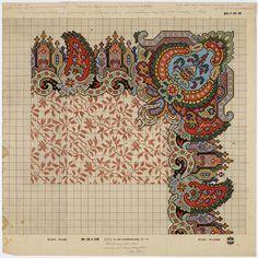 Patroontekening naar een tapijtontwerp uit 1850-1860 | Renssen, M.D. (1883-1971) - Europeana