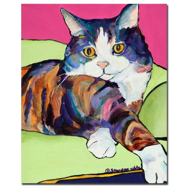 Pet lovers will be particularly thrilled with this contemporary canvas art piece by artist Pat Saunders-White. The vibrant and vivid colors are only surpassed by the delightful and whimsical cat lounging in the center of this masterpiece.