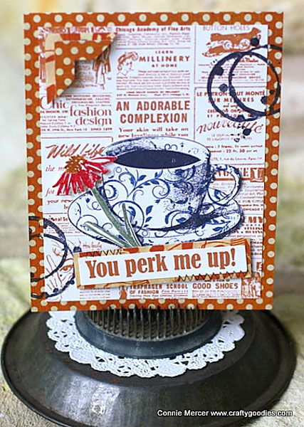 Card by Connie Mercer using Darkroom Door Coffee Time Rubber Stamp Set, Gazette Background Stamp, Brushed Daisies Rubber Stamp Set, Flourish Texture Stamp and Coffee Stain Eclectic Stamp. http://www.darkroomdoor.com/rubber-stamp-sets/rubber-stamp-set-coffee-time