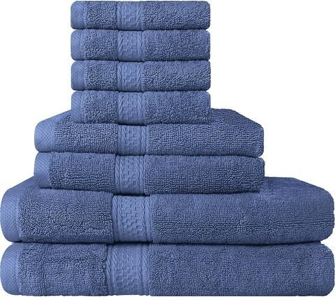 8-Piece Premium Hotel Quality, Super Soft, Highly Absorbent Complete Towel Set With Hand Washcloths and Bath Towels