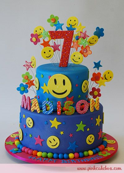 Smiley 7th Birthday Cake, you know you wanna smile!!! :D