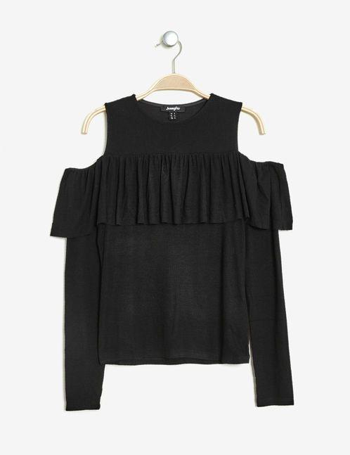 tee-shirt à volant noir