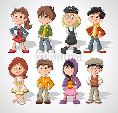set of 8 cute happy cartoon kids