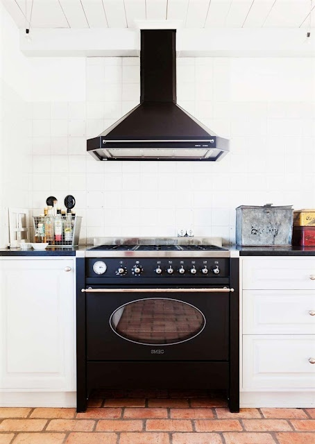 black gas range from Smeg.  Love the oval glass and classic brass handle.