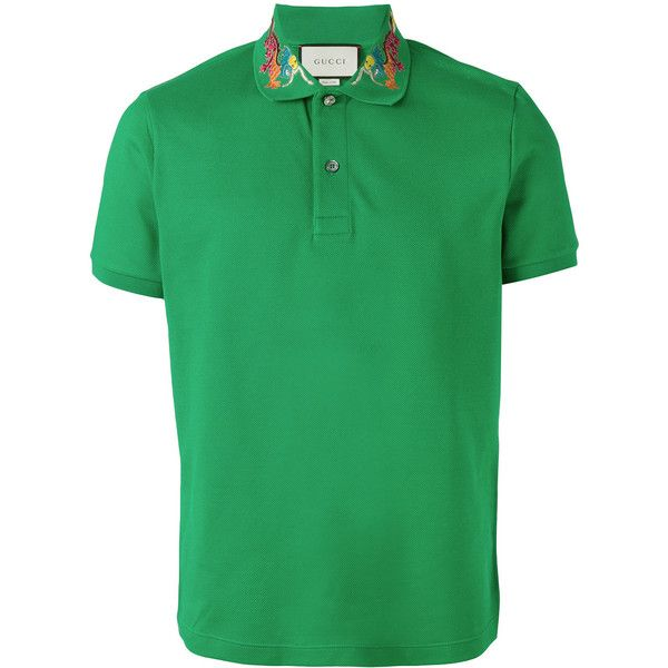 Gucci dragon embroidered polo shirt ($605) ❤ liked on Polyvore featuring men's fashion, men's clothing, men's shirts, men's polos, green, mens straight hem shirts, men's collared shirts, colorful mens dress shirts, gucci mens shirts and mens green polo shirt