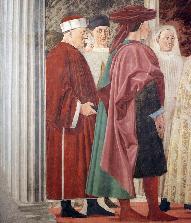 ❤ - PIERO DELLA FRANCESCA - (1415 - 1492) - The Queen of Sheba in Adoration of the Wood and the Meeting of Solomon and the Queen of Sheba (detail). Fresco. San Francesco, Arezzo, Italy.