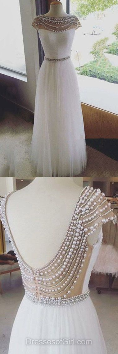 Long Prom Dresses, White Prom Dress, Sexy Party Gowns, Backless Evening Gowns, Tulle Formal Dresses #DGD020103644