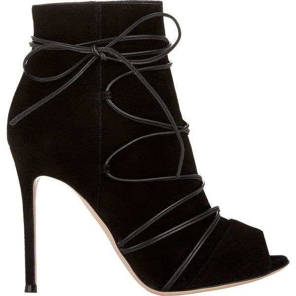 Gianvito Rossi Ellie Booties ($1,080) ❤ liked on Polyvore featuring shoes, boots, ankle booties, heels, ankle boots, booties, colorless, lace up peep toe booties, black heel booties and black heel boots