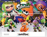 Inkling Squid Amiibo Splatoon Orange 3-pack only (w/ Green Girl + Purple Boy)