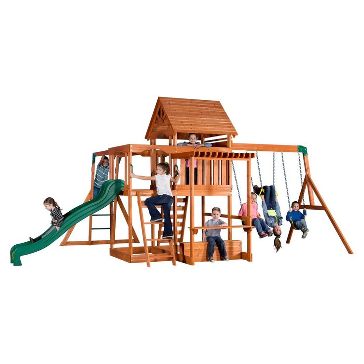 The Monticello Wooden Swing Set has all the features of more expensive outdoor swing sets at a terrific value. It has a raised play fort with a wooden roof