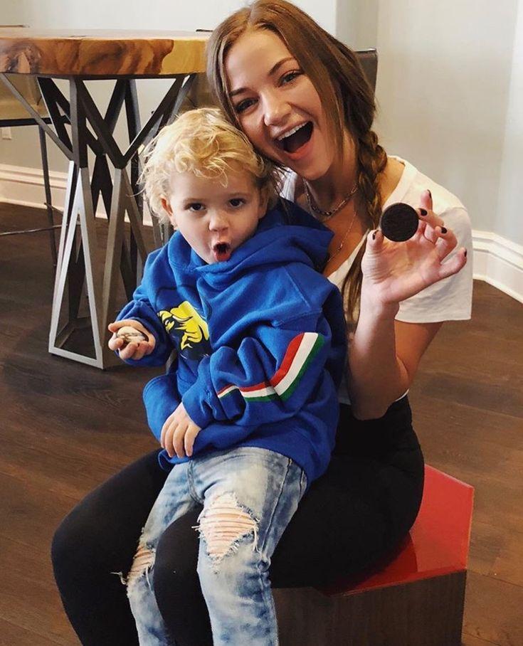 Erika Costell and Mini Jake Paul on a oreo date so cute.❤ I ship it.