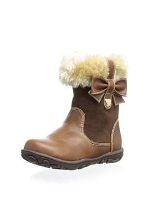 61% OFF Laura Ashley Kid's Boot with Faux Fur and Bow (Brown Crazy Horse)