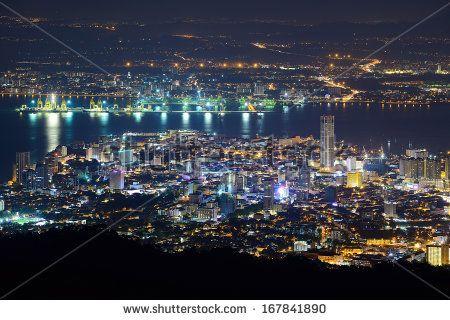 Penang hill night scene - stock photo