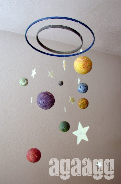 planets mobile. Can also use recycled cds instead of foam balls.