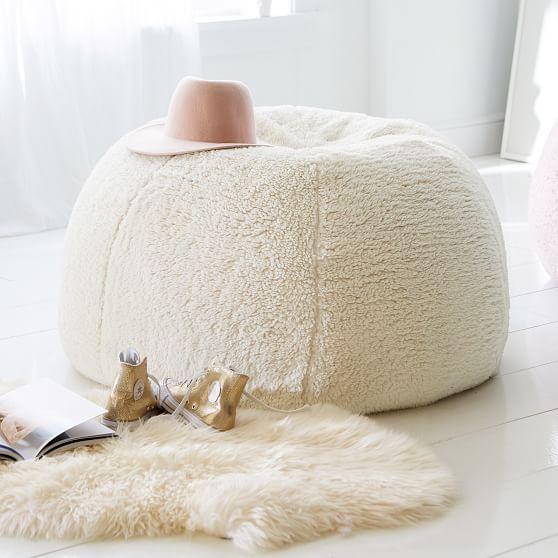 Sherpa Ivory Bean Bag Chair | Bean bag chair, Bean bag ...