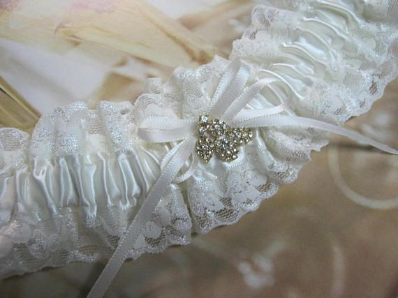 Ivory and Gold Lace Garter
