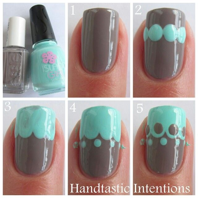 Simple dotticure to create DIY lace pattern mint green and grey taupe manicure nails