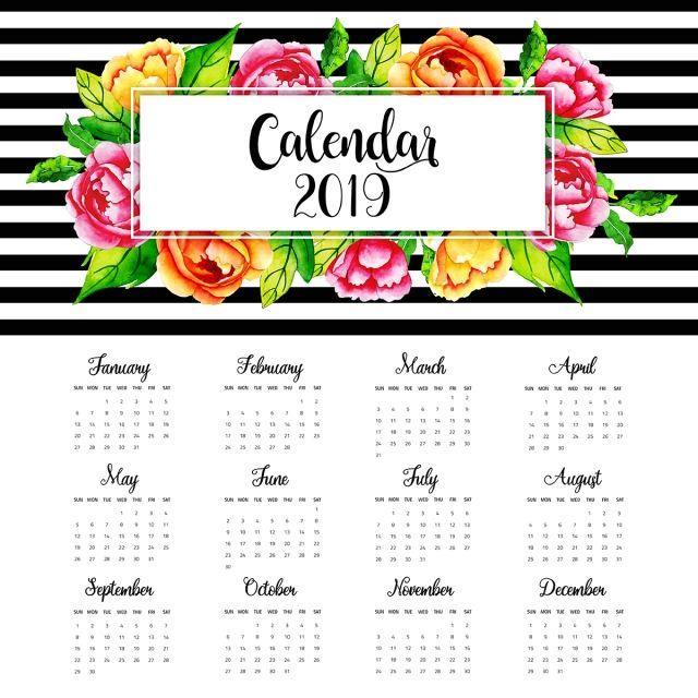 2019 ألوان مائية الزهور التقويم السنوي Floral Watercolor Floral Painting Calendar