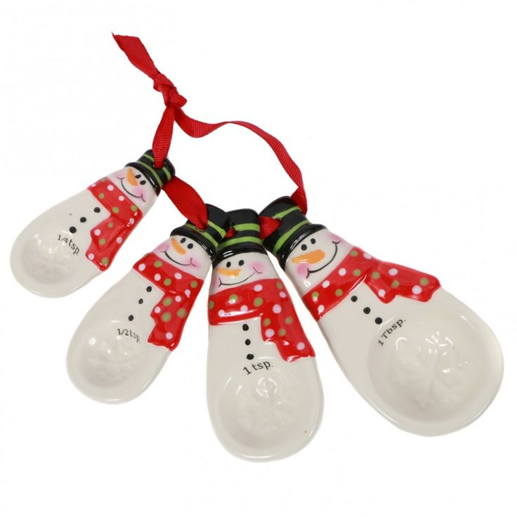 DEI Christmas Morning 4 Piece Ceramic Snowman Measuring ...
