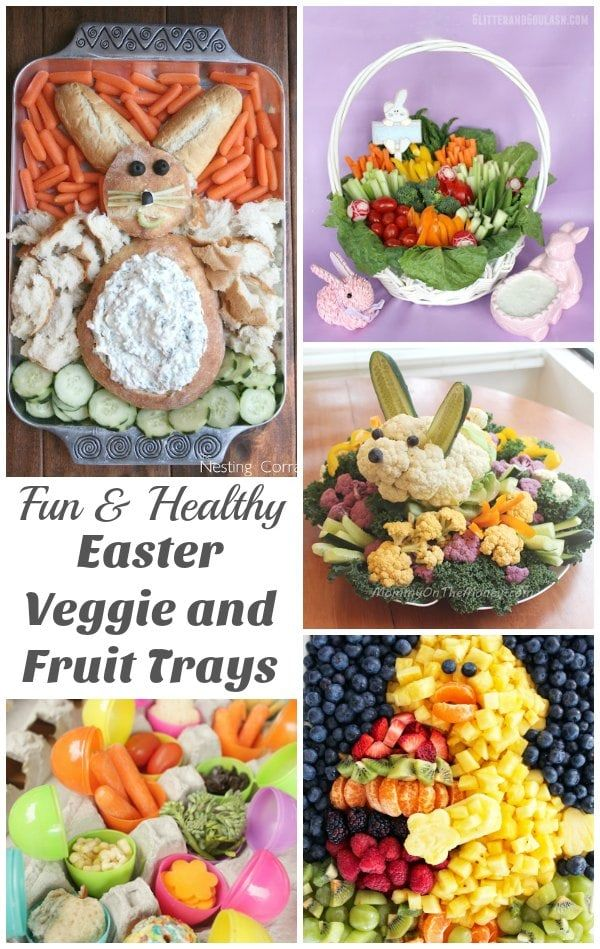 Fun and Healthy Easter Veggie and Fruit Trays - Who says that vegetables need to be boring? Take inspiration from these super cute vegetable and fruit trays for Easter. | Easter Recipes | Healthy Food for Kids |