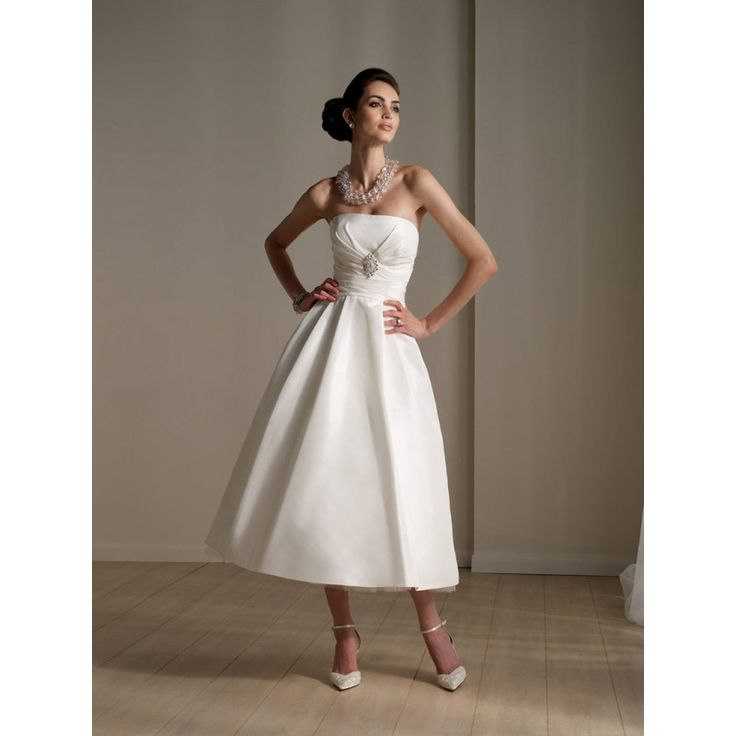 Casual Wedding Dresses | Strapless Funky Short Destination Casual Wedding Dresses hiwdt20