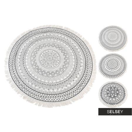 Dywan okrągły z frędzlami jasny wzór ø 90 cm unikatowy dywan, który z pewnością wzbogaci każde wnętrze