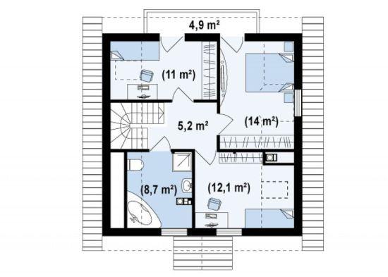 proiecte de case cu mansarda cu patru camere Four room attic house plans 4