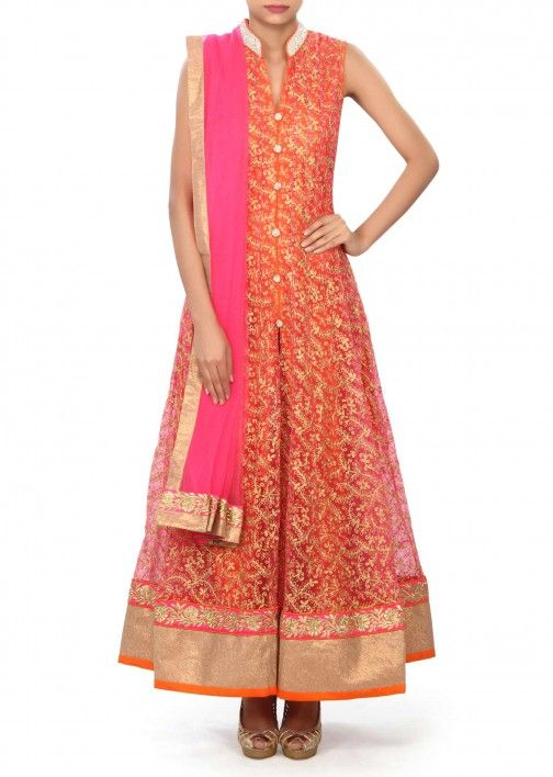 Pink anarkali suit embellished in aari and pearl embroidery only on Kalki