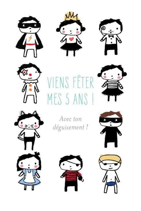 Carte d'anniversaire Bal masqué by Petite Alma pour www.fairepartnaissance.fr #birthday #kids #invitation