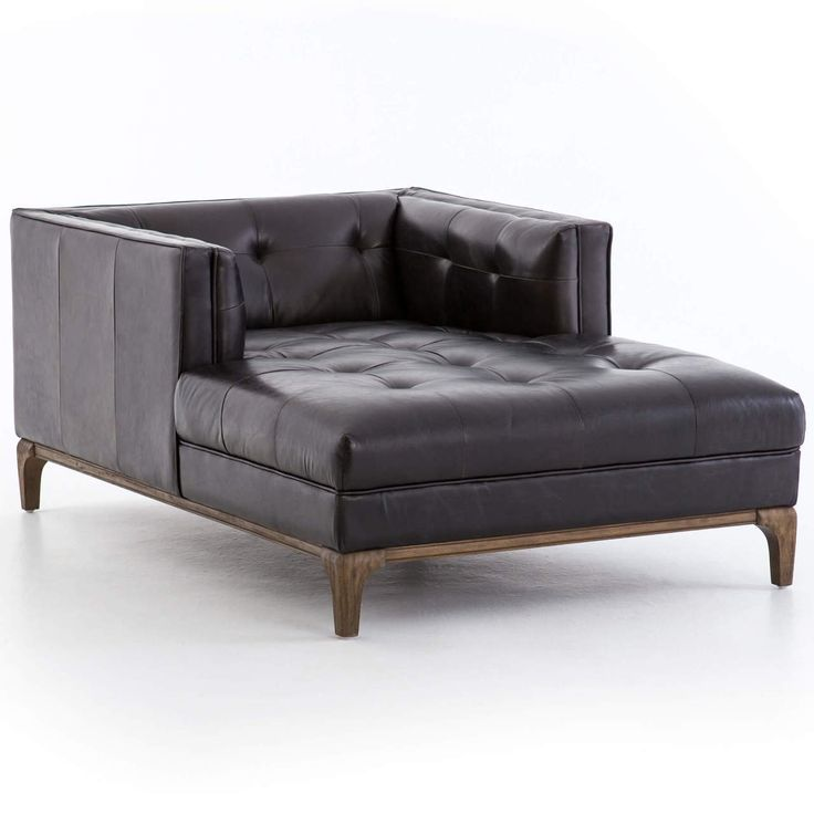 Best Dylan Mid Century Modern Black Leather Chaise Lounge 400 x 300