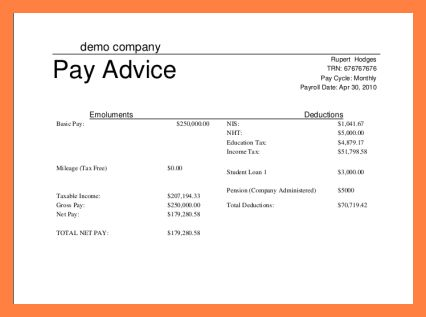 5+ simple payslip template | Sales Slip Template