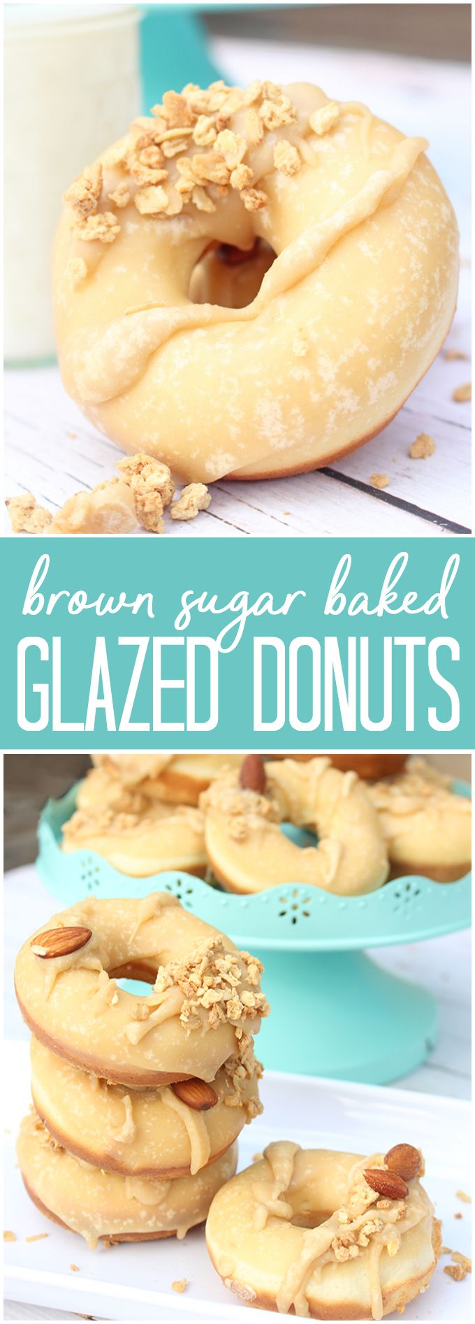 Baked Brown Sugar Glazed Donuts - They taste as great as they look! Mix and match different toppings depending on your preference.