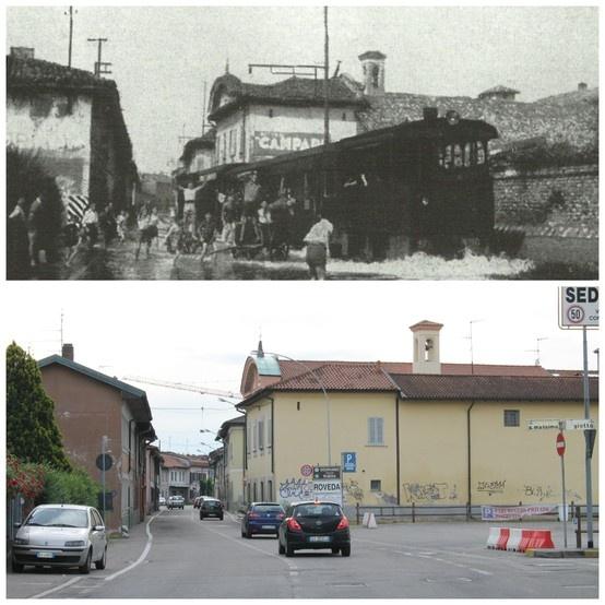 Sedriano - località Roveda, nella foto antica il tramway attraversa le acque.  Anni Quaranta - 2013 (45°19'10.49''N 8°59'17.77''E 45.486246,8.98827)