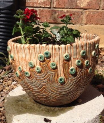 Beautiful clay pot (6) from my new friend (and AMAZING artist) Mrs. Glenda Coley