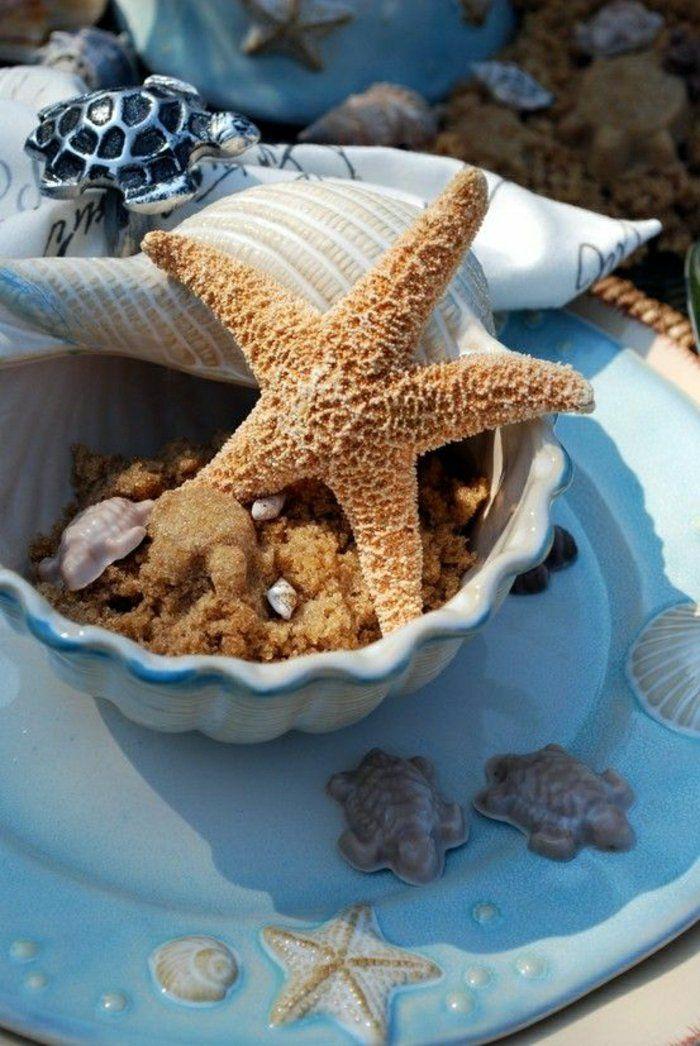 décoration marine avec des coquillages et une étoile marine